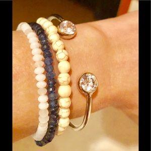 4 CRYSTAL STRETCH NATURAL BLUE WHITE BRACELETS